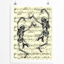 Dancing Halloween Skeleton by Dancing Skeletons Illustration On Antique Music Page Gothic