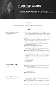 Freelance Writer Resume Sample by Communications Specialist Resume Samples Visualcv Resume Samples