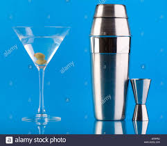 martini shaker vector dry martini shaker and measure glass over colorful blue
