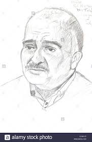 prince hassan bin talal talaal pencil portrait sketch stock photo