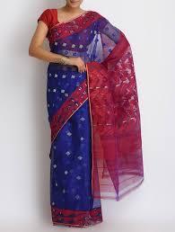 dhakai jamdani saree online buy blue cotton zari dhakai jamdani saree online at jaypore