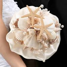 wedding bouquets with seashells seashell wedding bouquet theme wedding favors wedding