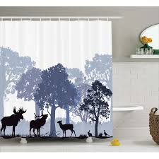 moose shower curtain forest design abstract woods north american