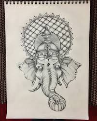 genesha elephant indian god ornaments drawing illustration