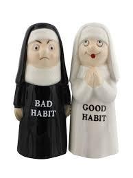amazon com good bad habits nun pair 4 inch ceramic magnetic salt