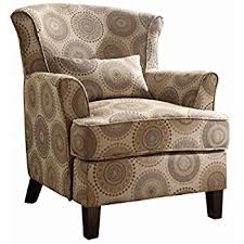 Printed Accent Chair Amazon Com Homelegance Nicolo Wing Back Accent Chair With Pillow