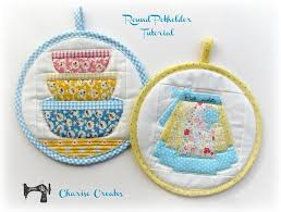 free sewing patern round potholders just a stitch or two