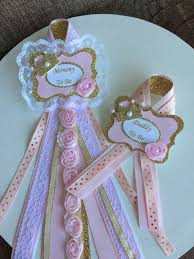 princess baby shower corsage set pink and gold crown baby