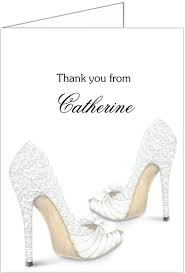 lace shoes bridal shower thank you cards storkie