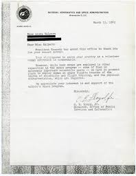 thank you letter to your girlfriend nasa s early stand on women astronauts no present plans to letter from nasa