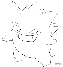 gengar coloring page free printable coloring pages