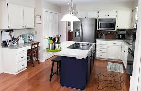 how to paint kitchen cabinets antique blue antique white and coastal blue kitchen cabinet makeover