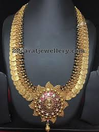 large gold ring necklace images Large kasu haram with lakshmi antic gold pinterest jewelry jpg