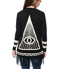 black fringe sweater lira all seeing black fringe wrap sweater zumiez