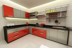 extraordinary modular kitchen with l shape with white orange