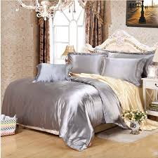 solid white black gold gray satin duvet cover twin queen king 4pcs