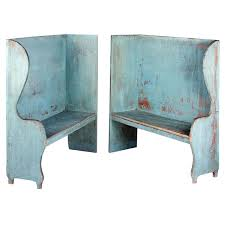pair of robin u0027s egg blue painted benches for sale at 1stdibs