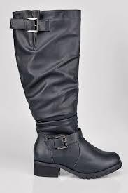 wide biker boots black knee high biker boot with buckles in eee fit 4eee 5eee 6eee