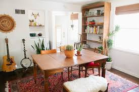 expandable dining room tables for narrow spaces in a bohemian