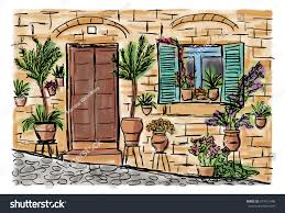 mediterranean town house style hand drawn stock vector 674712448