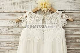 boho beach lace cap sleeves ivory chiffon flower dress