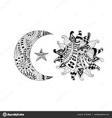 hand drawn sun moon star anti stress colouring