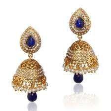jhumka earrings online ethnic pearl jhumka earrings with blue stones v801 online