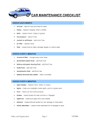 car maintenance checklist template car maintenance tips
