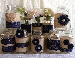 Mason Jar Vases For Wedding 10x Rustic Burlap And Navy Blue Lace Covered Mason Jar Vases