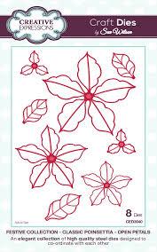 sue wilson dies festive collection classic poinsettia open petals