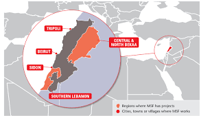 lebanon on the map msf focus on lebanon