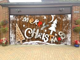 Holiday Decorations Outdoor Merry Christmas Garage Door Covers 3d Banners Holiday Tree