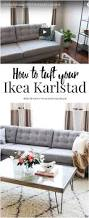 how to make a sofa slipcover how to tuft button your ikea karlstad cushions oh everything