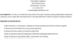 Resume In Job by Warehouse Specialist Resume 18 Astounding Design Warehouse Manager