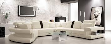 Modern White Bonded Leather Sectional Sofa Casa 6123 Modern White And Black Bonded Leather Sectional Sofa