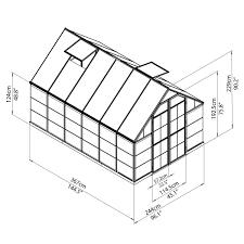 Mythos Silverline Greenhouse Palram Greenhouse Kit Octave Greenhouse Kit 8 U0027 X 12 U0027 Silver