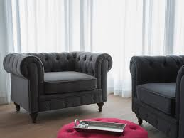 Chesterfield Sofa In Fabric by Tufted Fabric Armchair Gray Chesterfield