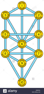 tree of with the ten sephirot of the hebrew kabbalah each