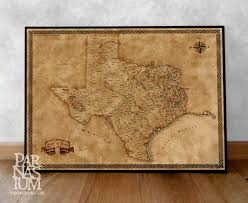 Old Texas Map Fantasy Map Of Texas Wall Art Print Wall Decor Fantasy Map