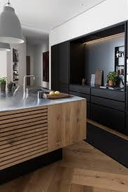 Matte Black Kitchen Cabinets Unfinish Wooden Kitchen Island With Metal Surface Matte Black
