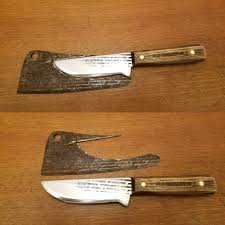 made a bushcraft knife out of an old meat cleaver bushcraft