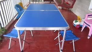amazon com folding camping table with 4 folding stools edoking