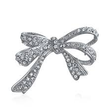 bling ribbon silver tone pave ribbon bow brooch pin