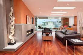 eucalyptus wood flooring entry modern with abstract sculpture
