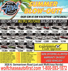 autofirst wolfchase summer blow out shopping ads from