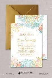 beachy wedding invitations bridal shower invitation watercolor coral gold foil