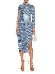 awake ruffle trimmed gingham sleeveless dress in blue lyst