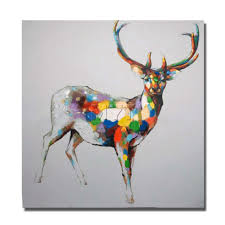 aliexpress com buy modern design beautiful color deer wall aliexpress com buy modern design beautiful color deer wall canvas painting for home decor handmade canvas painting no framed and with framed art from