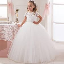 cute short sleeve white ivory lace first communion dresses for