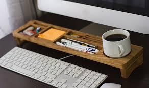 Wooden Desk Organizers Oak Wood Office Desk Organizer Desktop Shelf Office Organizer